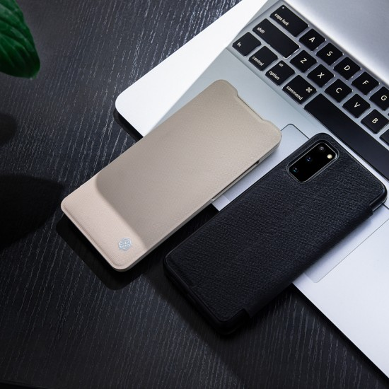 Samsung Galaxy S20 Plus кожен флип калъф Ming черен