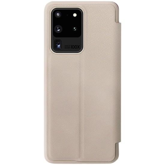 Samsung Galaxy S20 Ultra кожен флип калъф Ming бежов