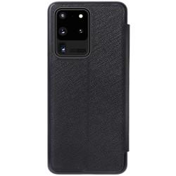 Samsung Galaxy S20 Ultra кожен флип калъф Ming черен