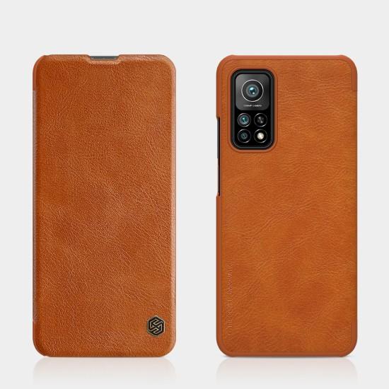 Redmi Note 9S / 9Pro луксозен кожен калъф QIN Nillkin бежов