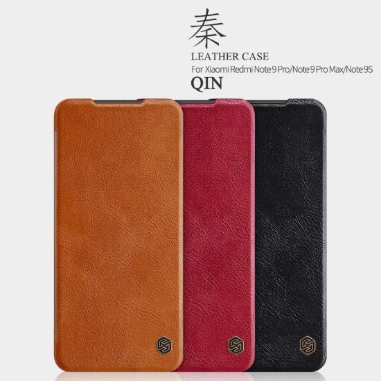Redmi Note 9S / 9Pro луксозен кожен калъф QIN Nillkin червен