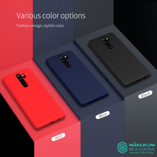 Redmi Note 8 Pro гумиран калъф Rubber Wrapped Nillkin син
